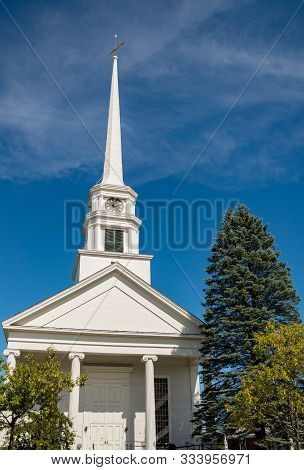 Stowe Community Church In The Fall In Stowe, Vermont, Usa