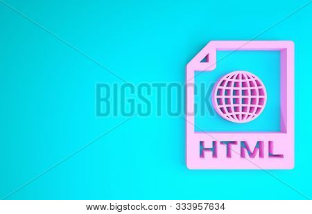 Pink Html File Document. Download Html Button Icon Isolated On Blue Background. Html File Symbol. Ma