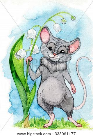 A Small Blue Rat With Big Ears Of A Dumbo Is Holding On To A Lily Of The Valley Flower On A Blue Bac