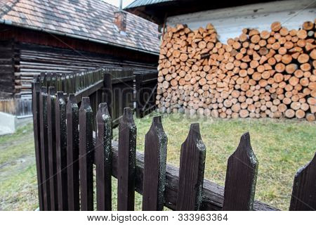 VLKOLINEC, SLOVAK REPUBLIC - DECEMBER 29, 2015: Beautiful architecture with wooden fence from UNESCo village.