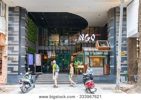 Hanoi, Vietnam - 21st October 2019: The Front Of The Chi Boutique Hotel And Ngo Dimsum Dining Restau