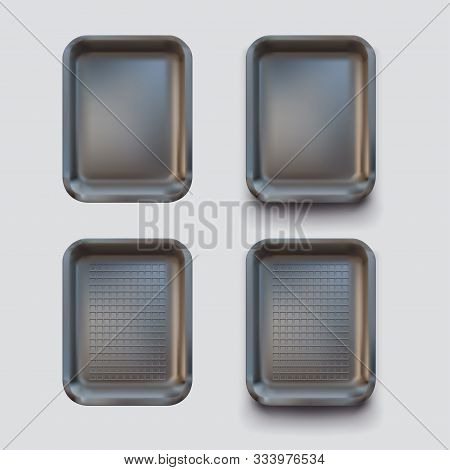 Illustration Of Realistic Styrofoam Clear Black Color Container In Set Isolated And With Soft Shadow