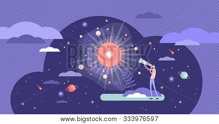 Big Bang Theory Exploration Flat Tiny Person Concept Vector Illustration. Looking In Telescope To Th