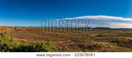 A Panoramic View Of The Desert West Of Vernal Utah From Us Highway 40.
