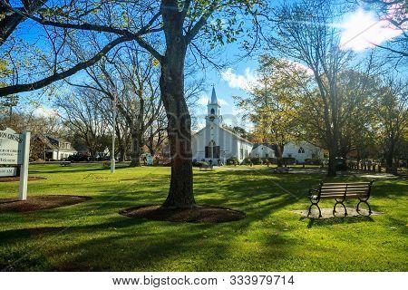 Dennis Union Church In Dennis, Massachusetts On Cape Cod.