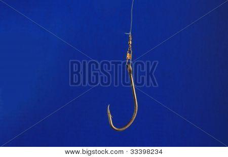 Fish Hook On Blue