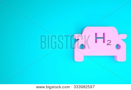 Pink Hydrogen Car Icon Isolated On Blue Background. H2 Station Sign. Hydrogen Fuel Cell Car Eco Envi