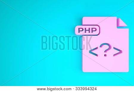 Pink Php File Document. Download Php Button Icon Isolated On Blue Background. Php File Symbol. Minim