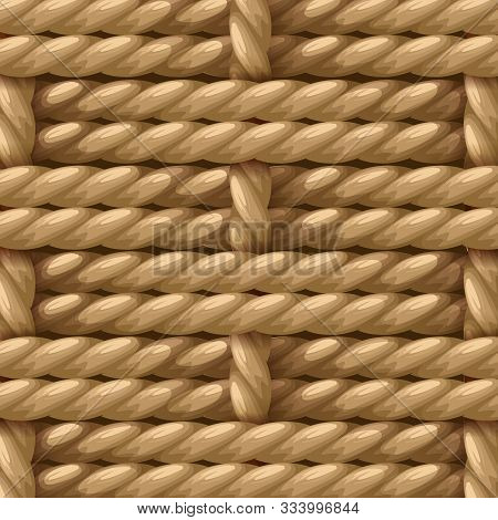 Natural Hemp Fiber Sisal Rope, Manila Rope ,jute Rope Weaving Pattern Wicker Background Vector Illus
