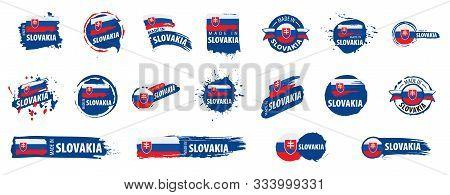 Slovakia Flag, Vector Illustration On A White Background