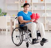 Disabled boxer at wheelchair recovering from injury poster