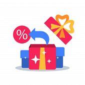 Surprise box, special reward, prize giveaway, loyalty present, percentage sign, incentive or perks, bonus program, creative idea, vector flat design illustration poster