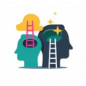 Human head and ladder, next level improvement, training and mentoring, pursuit of happiness, self esteem and confidence, vector flat illustration poster