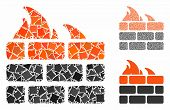 Firewall composition of joggly parts in various sizes and color tints, based on firewall icon. Vector irregular parts are united into composition. Firewall icons collage with dotted pattern. poster