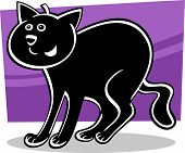 cartoon illustration of funny black cat or kitten poster