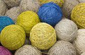 balls of yarn from natural fibers of hemp poster
