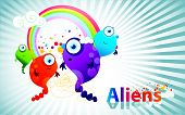 fun aliens vector over a texturized color background poster