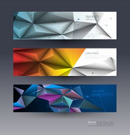 Abstract Molecules Banners Set With Lines,geometric,polygon. Vector Design Network Communication Bac