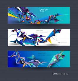 Vector Polygon Banner Set. Polygonal Or Low Poly Pattern Background. Illustration Abstract Layout, L
