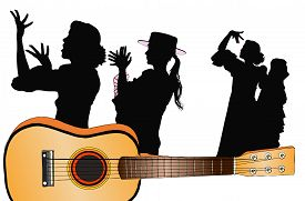 A Symbolic Image Of Spanish Music - Its Instruments And Its Flamenco Dances