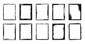 Grunge Frames. Ink Brush Stroke Border, Artistic Brush Blots And Black Paint Frame Design Vector Iso