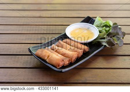 Fried Spring Rolls Are Vietnamese Food That Thai People Like To Eat. Spring Roll Pastry Made From Ri