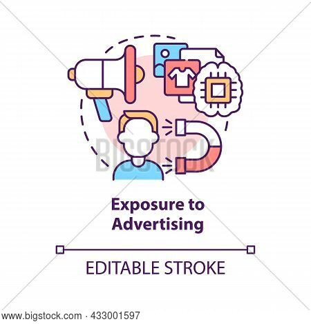 Exposure To Advertising Concept Icon. People Buy More When See Ads. Excessive Buying. Commercials Im
