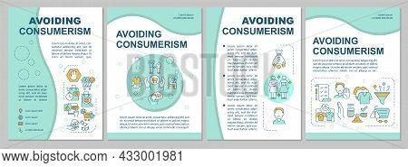 Avoiding Consumerism Blue Brochure Template. Excessive Consumption. Flyer, Booklet, Leaflet Print, C