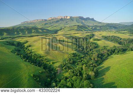 Aerial beautiful summer landscape of Caucasus mountain. Nature composition.