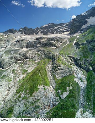 Alibek mountain glacier. Nature landscape of Caucasus mountain.