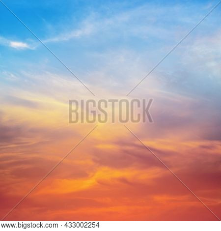 Blue and red sky clouds background. Nature composition.