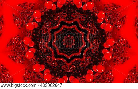 A Red Glowing Floral Kaleidoscope Pattern Background
