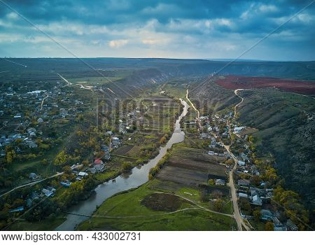 Orheiul Vechi Hills And River Scenery In Moldova . Valley Of River Raut In Villages Butuceni And Tre