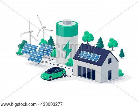 Home Virtual Battery Energy Storage With House Photovoltaic Solar Panels Plant, Wind And Rechargeabl
