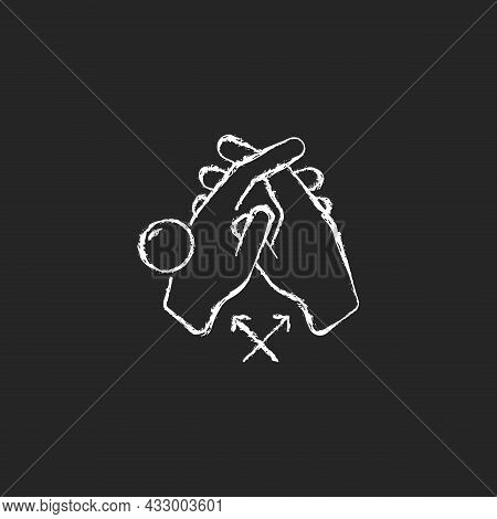 Interlink Fingers Chalk White Icon On Dark Background. Removing Dirt Between Fingers. Cleaning Under