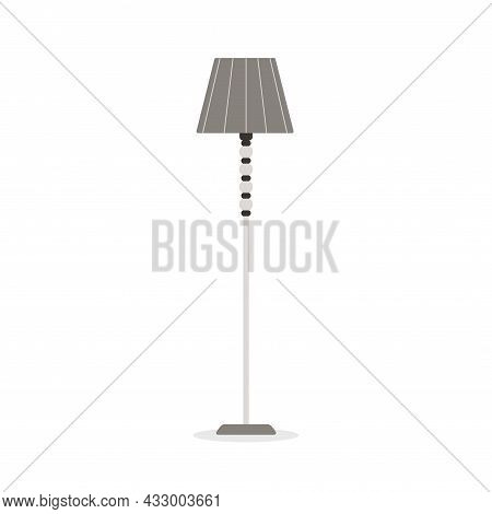 Classic Grey Floor Lamp. Vector Flat Illustration With Gray Stand Lamp Isolated On White Background