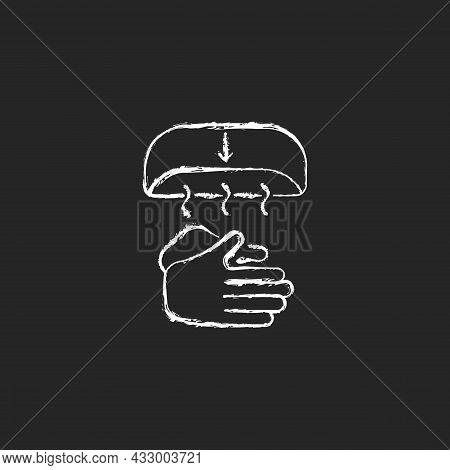 Air Dry Hands Chalk White Icon On Dark Background. Hygienic Alternative. Hand-drying Method. Spreadi