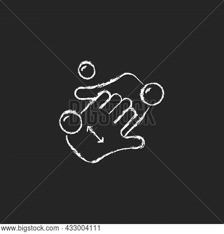 Cup Fingers Chalk White Icon On Dark Background. Cleaning Hands And Nails With Soap. Handwashing Tec