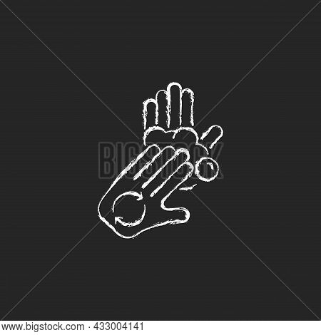 Rub Palms With Fingers Chalk White Icon On Dark Background. Regular Handwashing. Covering Hands With