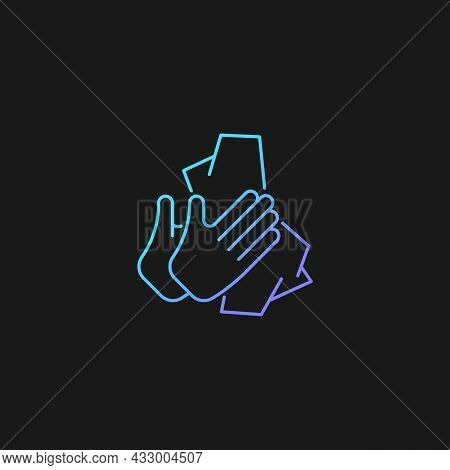 Dry Hands With Tissue Gradient Vector Icon For Dark Theme. Wiping Off Dirt, Germs From Palms. Use An