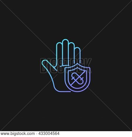 Microbes Protection Gradient Vector Icon For Dark Theme. Protect Hands Against Pathogens. Using Anti