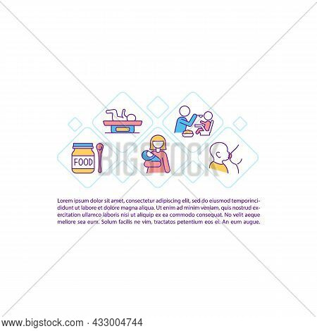 Maternity Concept Line Icons With Text. Baby Health Care. Ppt Page Vector Template With Copy Space.