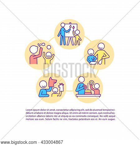 Parent And Child Interaction Concept Line Icons With Text. Ppt Page Vector Template With Copy Space.