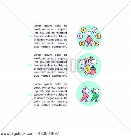 Strengthening Immunity Concept Line Icons With Text. Ppt Page Vector Template With Copy Space. Broch