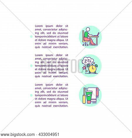 Daily Schedule For Kid Concept Line Icons With Text. Ppt Page Vector Template With Copy Space. Broch