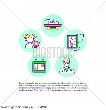 Regular Health Checkups Concept Line Icons With Text. Ppt Page Vector Template With Copy Space. Broc