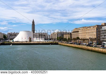 Le Havre, France - August 8, 2021: The Town Center Of Le Havre, Normandy, France Wiht Commerce Basin