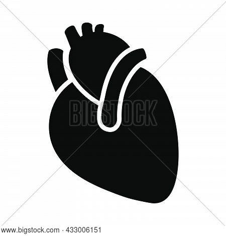Human Heart Icon. Black Stencil Design. Vector Illustration.