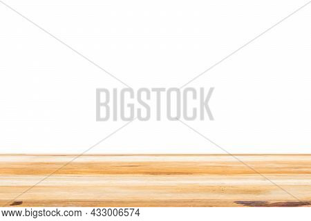Wood Table Top Surface Isolated On White Background For Montage Product Display