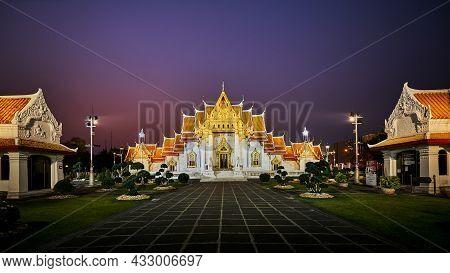 Wat Benchamabophit Dusitvanaram Temple, Marble Temple At Night, Destination Place And Landmark For S